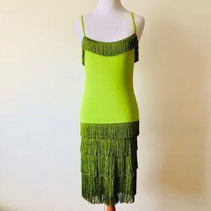 Vintage 1990s MOSCHINO Green Fringe Dress